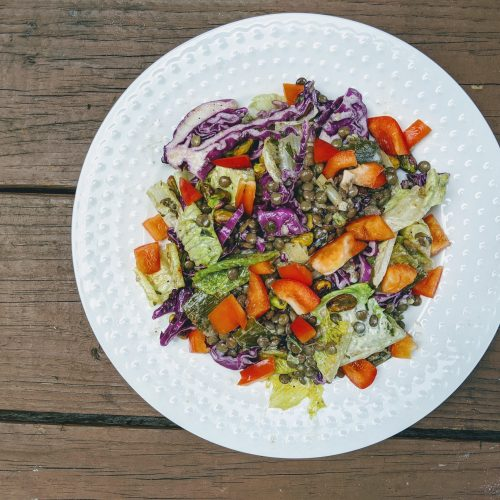 Colorful warm lentil salad with purple cabbage, red bell peppers and romaine, SCD legal, GAPS, low FODMAP